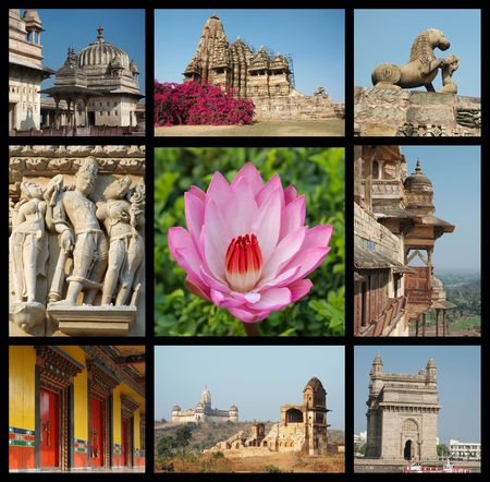dome of hindu temple: Go India collage - background with travel photos of Indian landmarks