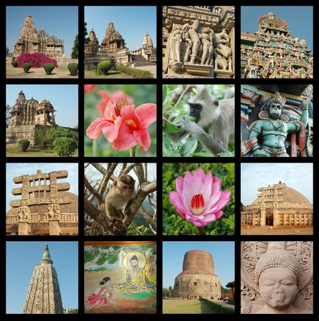 vishnu: Go India collage - background with travel photos of Indian landmarks