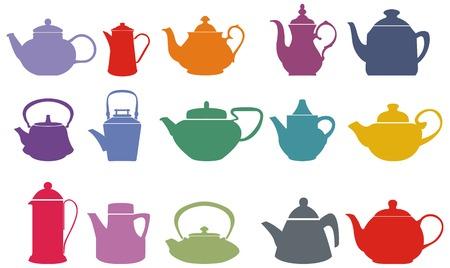 Set van vijftien kleurrijke vector thee potten