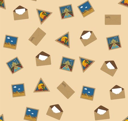 camel post: Seamless texture with letters and postal stamps with famous landmarks Illustration