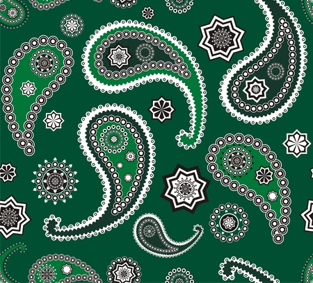 Islamic paisley green pattern Vector