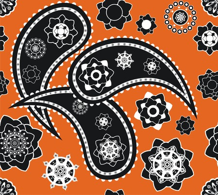 Retro seamless indian  paisley  pattern  Vector