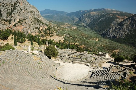 delphi: Ruins of ancient amphitheater in Delphi,Greece