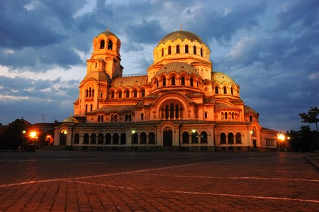 Night view of Alexandr Nevski Cathedral in Sofia, Bulgaria