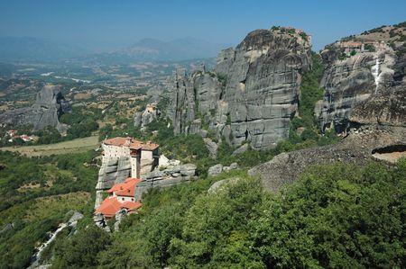 monasteries: Four rock monasteries at Meteora,Greece - Rousanou, Agios Nikolaos,Grand Meteora and Varlaam Stock Photo