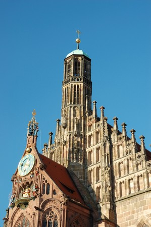 hauptmarkt: Frauenkirche (Church of our lady) in Nuremberg,Germany