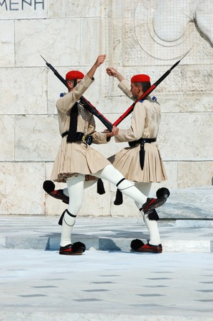 evzones guard: Athens, Greece, August 14,2010 - Greek Presidential guard change  in front of the  Parliament. Evzones, or Evzoni, is the name of several historical elite light infantry and mountain units of the Greek Army