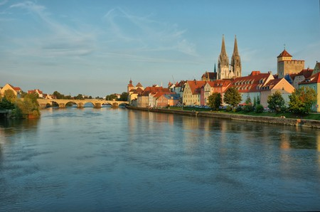 regensburg: Cityscape of old Regensburg ,Bavaria,Germany,Unesco heritage,Hdr Stock Photo