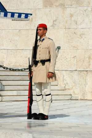 Athens, Greece ,August 14 - Greek Presidential guard change  in front of the  Parliament on February 14, 2010 in Athens, Greece. Evzones, or Evzoni, is the name of several historical elite light infantry and mountain units of the Greek Army
