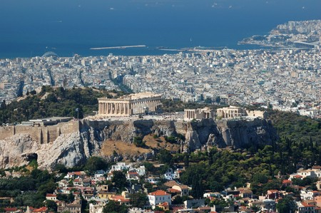 balkans: View of Acropolis from Lykavittos hill - highest point of Athens city ,Greece,Balkans