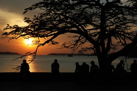 Sunset at Marine drive street,Cochi,Kerala,India Stock Photo - 8132065