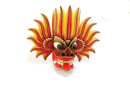 Traditional religious colorful  mask of Sri Lanka Stock Photo