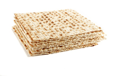 Jewish Passover holiday ritual food - matza on white background Stock Photo - 8374111