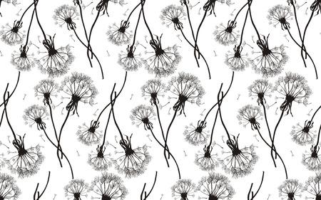 Black dandelions seamless vector texture Vector