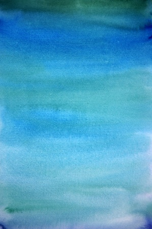 Watercolor light blue hand painted art background for scrapbooking  photo