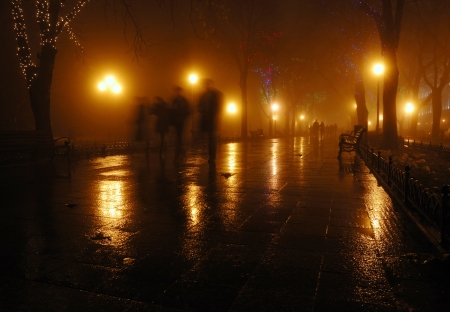 Foggy night at Odessa city park, Ukraine photo