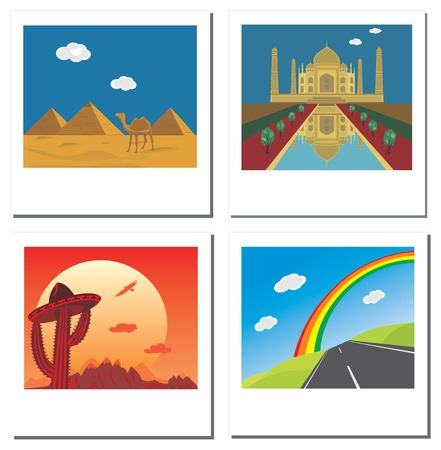Set of four travel vector photos with Taj Mahal,egyptian pyramids,road and mexican landscape Vector