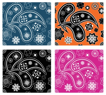Collection of four retro seamless indian paisley vector patterns Stock Vector - 8482046