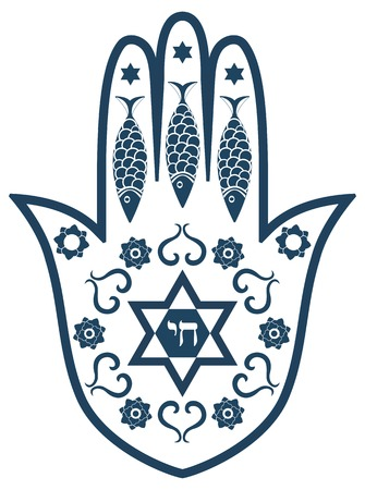 hebrew script: Jewish sacred amulet - hamsa or Miriam hand, vector illustration