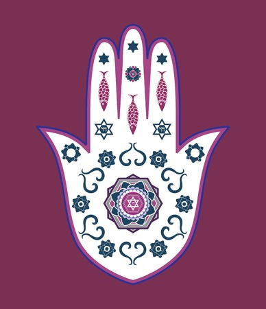 hebrew script: Jewish hamsa hand amulet - or Miriam hand, Vector illustration Illustration