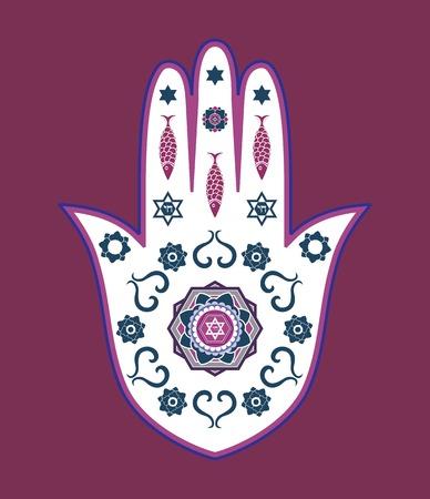 jeruzalem: Joodse hamsa hand amulet- of Miriam hand, Vector illustratie