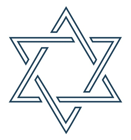 david star: Jewish star design on white background - Vector illustration