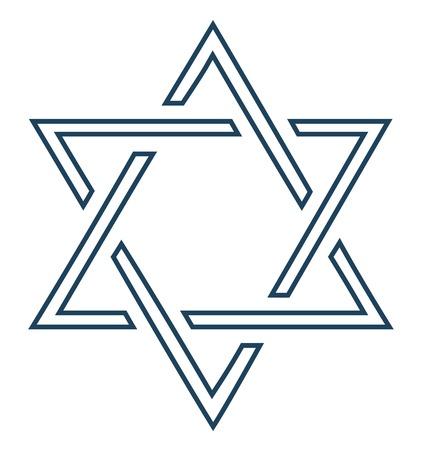 stella di davide: Progettazione di stella ebraica su sfondo bianco - illustrazione vettoriale