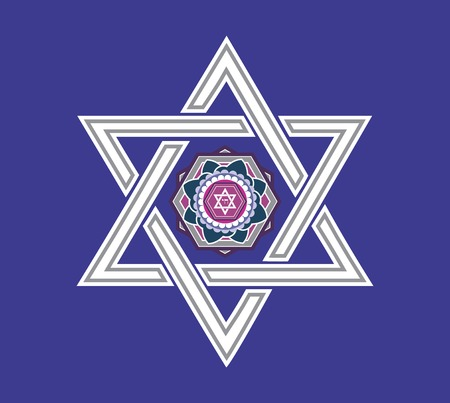 an amulet: Jewish star design - Vector illustration