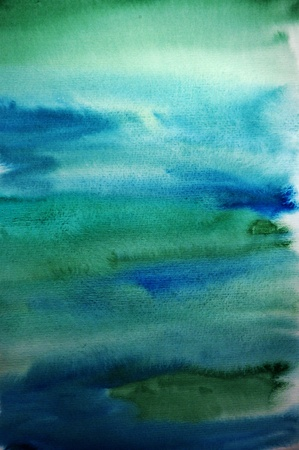 Watercolor green hand painted art background for design photo