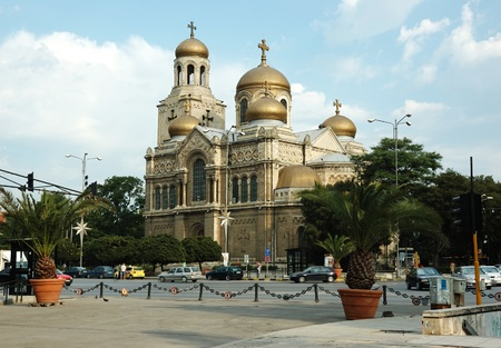 touristic: Varna,Bulgaria, August 8, 2010 -  Famous Theotokos Cathedral - one of most popular touristic place in Bulgaria
