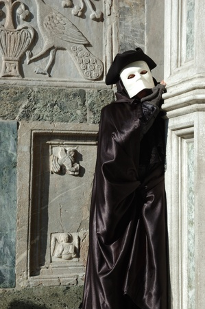Venice,Italy, March 8,2011- Person in costume of Casanova at St. Mark's Square during the Carnival of Venice ,the annual carnival was held in 2011 from February 26th to March 8th Stock Photo - 9073788