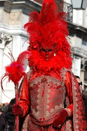 Venice,Italy, March 8,2011- Lady in costume at St. Mark's Square during the Carnival of Venice,the annual carnival was held in 2011 from February 26th to March 8th. Stock Photo - 9095033