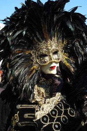 Venice,Italy, March 8,2011-Man in bird costume at St. Mark's Square during the Carnival of Venice.The annual carnival was held in 2011 from February 26th to March 8th Stock Photo - 9272017