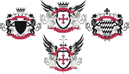 cross and wings: Colecci�n de grunge escudo con leones Vectores