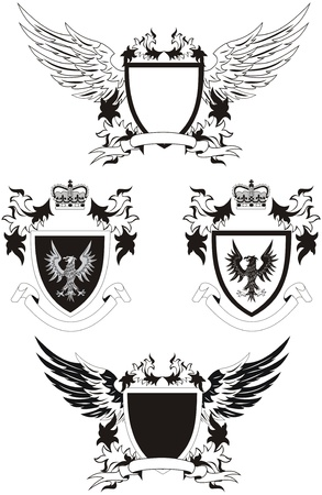Collection of grunge coat of arms with eagle Vector