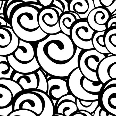 Seamless vector black and white spiral pattern - illustration
