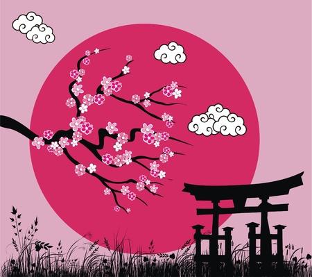Blossom japonais sakura et tori gate - illustration vectorielle Banque d'images - 9404710
