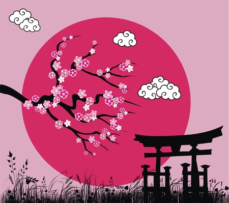 sakuras: Flor de sakura japon�s y toros puerta - ilustraci�n vectorial