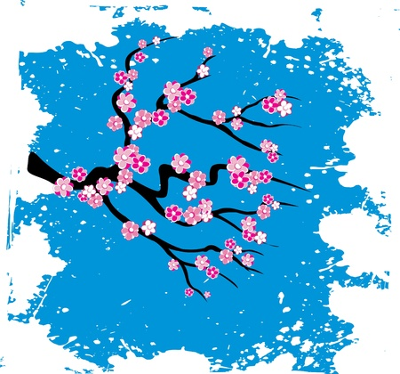 Japanese grungy style sakura blossom  - vector illustration Stock Vector - 9404708