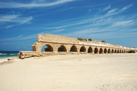 Old Caesarea aqueduct bridge,Israel photo
