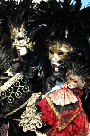 Venice,Italy, March 8,2011- Two bird masks at St. Mark's Square during the Carnival of Venice .The annual carnival was held in 2011 from February 26th to March 8th Stock Photo - 9777309