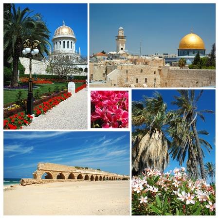 Collage of Israel landmarks -old Jerusalem,Bahai temple at Haifa and Caesarea aqueduct photo
