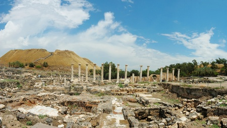 Panorama of ancient ruins of Beit Shean (Beit Shearim) city , Israel photo