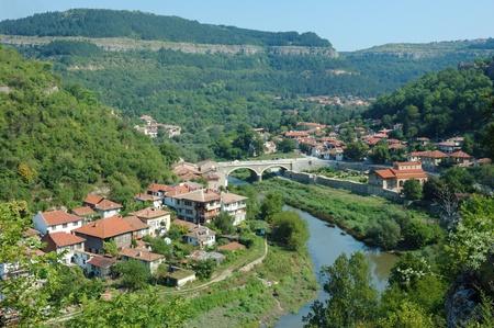yantra: Old Veliko Tarnovo panorama from Tsarevets hill ,Bulgaria.