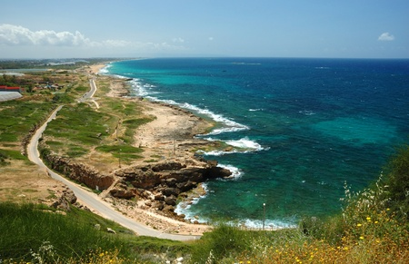View of coast from Rosh HaNikra, looking South towards Israel Standard-Bild
