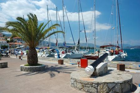 poros: Poros island,Greece, August 11, 2011 - Poros island , popular tourist place in Aegean sea.Island daily receives thousands of tourists