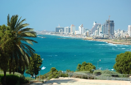 and israel: View of Tel-Aviv sea coast from Jaffa