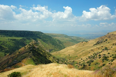Israeli national park Gamla fortress at the Golan Hights - symbol of heroism Stock Photo