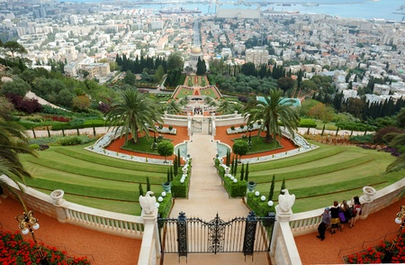 Haifa, Israel, May 6,2011- Tourists visit famous Bahai shrine .Bahai temple gardens is famous sacred place in Israel