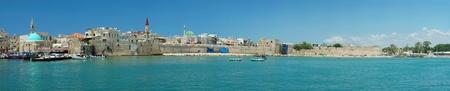 galilee: Panorama of Old Akko - city of crusaders,Israel